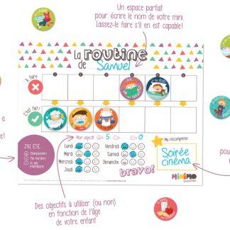 Minimo: motivation ludique, des outils de routine colorés