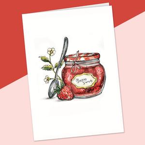 fêtes grenadine carte confiture de fraises