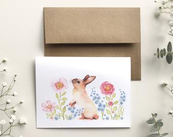 katrinn illustration carte lapin floral