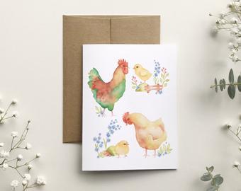 katrinn illustration carte coq, poule, poussin