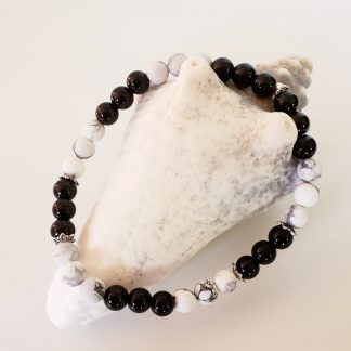 créations dominique bracelet cheville noir et blanc
