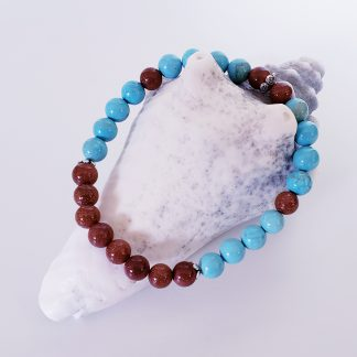 créations dominique bracelet cheville bleu et brun