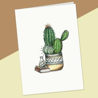 fêtes grenadine carte sans texte cactus en pot