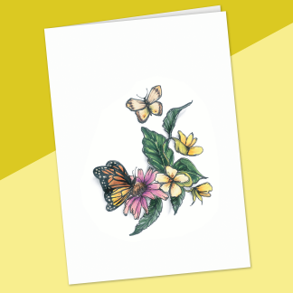 fêtes grenadine carte sans texte jardin de papillons