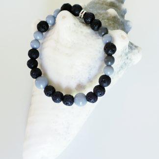 bracelet diffuseur enfant noir et gris