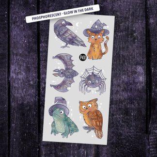 tatouage pico phosphorescents halloween animaux discrets