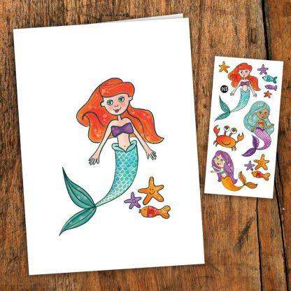 carte de souhaits sirène tatouage pico