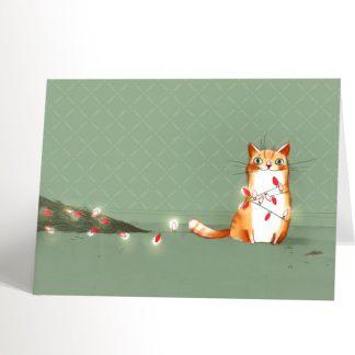 carte de noël carte de souhaits valerie boivin chat victorieux