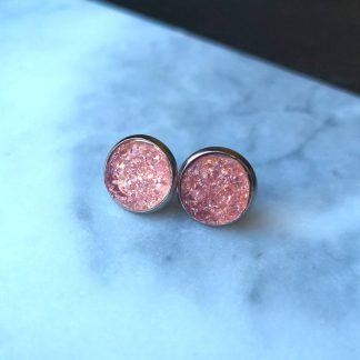 boucles d'oreilles rose cika cristaux