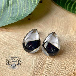 boucles d'oreilles marbre noir cika