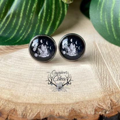 lunes et cristal boucles d'oreilles