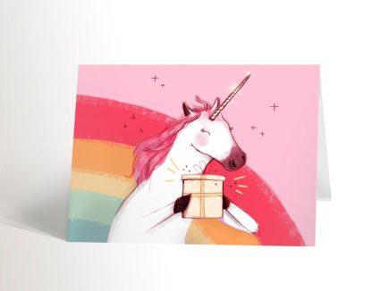 Licorne rose carte de souhaits valerie boivin