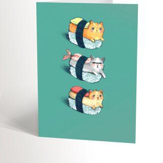 carte de souhaits sushi-chats valerie boivin